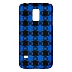 Black Blue Check Woven Fabric Galaxy S5 Mini by AnjaniArt