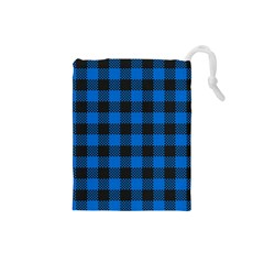 Black Blue Check Woven Fabric Drawstring Pouches (small)