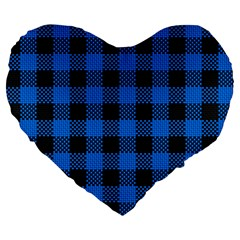 Black Blue Check Woven Fabric Large 19  Premium Flano Heart Shape Cushions by AnjaniArt