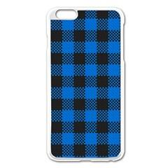 Black Blue Check Woven Fabric Apple Iphone 6 Plus/6s Plus Enamel White Case by AnjaniArt