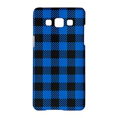 Black Blue Check Woven Fabric Samsung Galaxy A5 Hardshell Case  by AnjaniArt