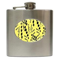 Circular Dot Selections Circle Yellow Hip Flask (6 Oz) by AnjaniArt