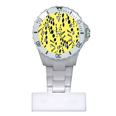 Circular Dot Selections Circle Yellow Plastic Nurses Watch by AnjaniArt
