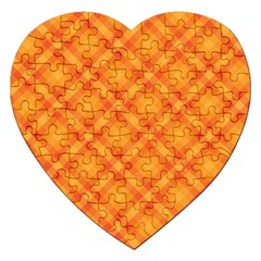 Clipart Orange Gingham Checkered Background Jigsaw Puzzle (heart) by AnjaniArt