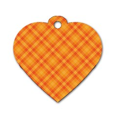 Clipart Orange Gingham Checkered Background Dog Tag Heart (one Side) by AnjaniArt
