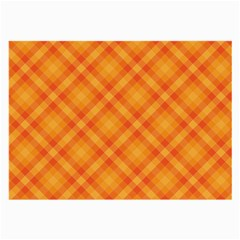 Clipart Orange Gingham Checkered Background Large Glasses Cloth (2 Side) by AnjaniArt