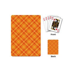 Clipart Orange Gingham Checkered Background Playing Cards (mini)  by AnjaniArt