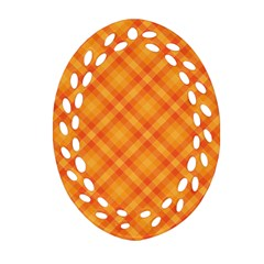 Clipart Orange Gingham Checkered Background Oval Filigree Ornament (two Sides) by AnjaniArt
