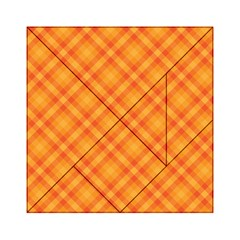 Clipart Orange Gingham Checkered Background Acrylic Tangram Puzzle (6  X 6 ) by AnjaniArt
