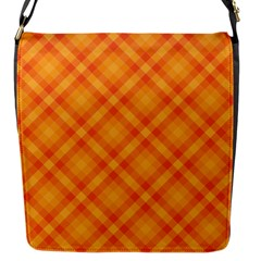 Clipart Orange Gingham Checkered Background Flap Messenger Bag (s) by AnjaniArt