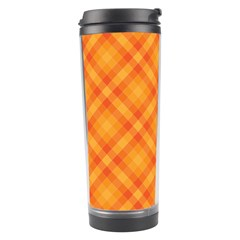 Clipart Orange Gingham Checkered Background Travel Tumbler by AnjaniArt