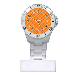 Clipart Orange Gingham Checkered Background Plastic Nurses Watch by AnjaniArt