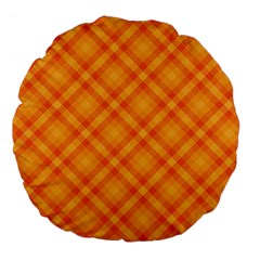 Clipart Orange Gingham Checkered Background Large 18  Premium Flano Round Cushions by AnjaniArt