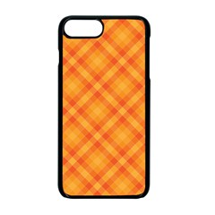 Clipart Orange Gingham Checkered Background Apple iPhone 7 Plus Seamless Case (Black) by AnjaniArt
