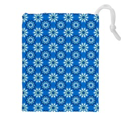 Blue Flower Clipart Floral Background Drawstring Pouches (xxl) by AnjaniArt