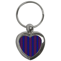 Diamond Alt Blue Purple Woven Fabric Key Chains (heart)  by AnjaniArt