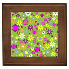 Colorful Floral Flower Framed Tiles by AnjaniArt