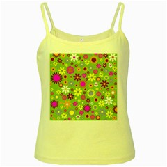 Colorful Floral Flower Yellow Spaghetti Tank