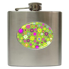 Colorful Floral Flower Hip Flask (6 Oz) by AnjaniArt