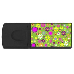 Colorful Floral Flower Usb Flash Drive Rectangular (4 Gb) by AnjaniArt