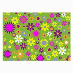 Colorful Floral Flower Large Glasses Cloth (2 Side) by AnjaniArt