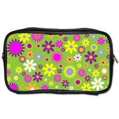 Colorful Floral Flower Toiletries Bags 2 Side by AnjaniArt