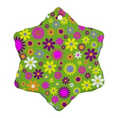 Colorful Floral Flower Snowflake Ornament (two Sides) by AnjaniArt