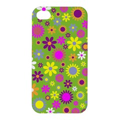 Colorful Floral Flower Apple Iphone 4/4s Premium Hardshell Case by AnjaniArt