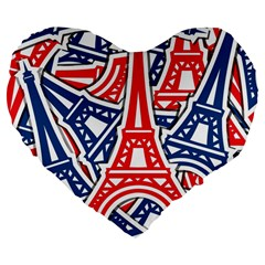 Eiffel Tower Paris Perancis Large 19  Premium Flano Heart Shape Cushions by AnjaniArt