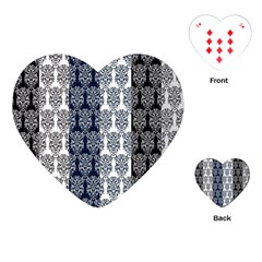 Digital Print Scrapbook Flower Leaf Colorgray Black Purple Blue Playing Cards (heart)  by AnjaniArt