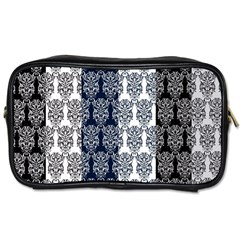 Digital Print Scrapbook Flower Leaf Colorgray Black Purple Blue Toiletries Bags by AnjaniArt