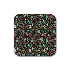 Floral Flower Flowering Rose Rubber Square Coaster (4 Pack)  by AnjaniArt