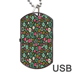 Floral Flower Flowering Rose Dog Tag Usb Flash (one Side) by AnjaniArt