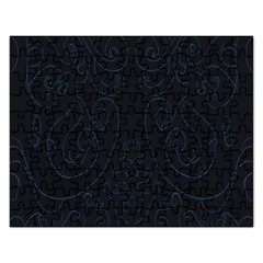 Flower Floral Blue Black Rectangular Jigsaw Puzzl by AnjaniArt