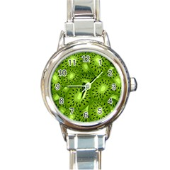 Fruit Kiwi Green Round Italian Charm Watch by AnjaniArt