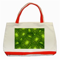 Fruit Kiwi Green Classic Tote Bag (red) by AnjaniArt