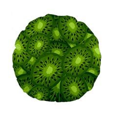 Fruit Kiwi Green Standard 15  Premium Flano Round Cushions by AnjaniArt