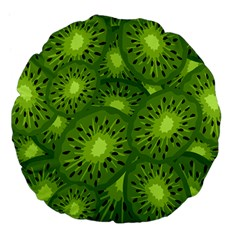 Fruit Kiwi Green Large 18  Premium Flano Round Cushions by AnjaniArt