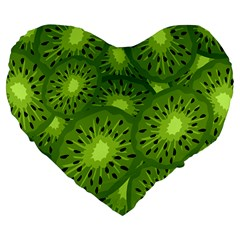 Fruit Kiwi Green Large 19  Premium Flano Heart Shape Cushions by AnjaniArt