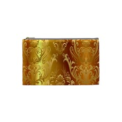 Golden Flower Vintage Gradient Resolution Cosmetic Bag (small)  by AnjaniArt