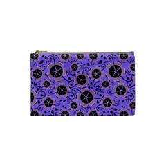 Flower Floral Purple Leaf Background Cosmetic Bag (small)  by AnjaniArt