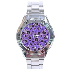 Flower Floral Purple Leaf Background Stainless Steel Analogue Watch by AnjaniArt