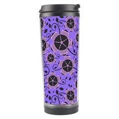 Flower Floral Purple Leaf Background Travel Tumbler by AnjaniArt