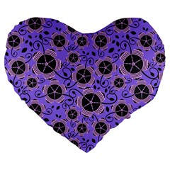 Flower Floral Purple Leaf Background Large 19  Premium Flano Heart Shape Cushions by AnjaniArt
