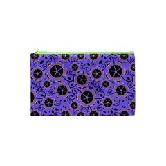 Flower Floral Purple Leaf Background Cosmetic Bag (xs) by AnjaniArt