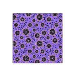 Flower Floral Purple Leaf Background Satin Bandana Scarf by AnjaniArt