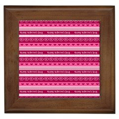 Happy Valentine Day Love Heart Pink Red Chevron Wave Framed Tiles by AnjaniArt