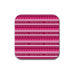 Happy Valentine Day Love Heart Pink Red Chevron Wave Rubber Coaster (square)  by AnjaniArt