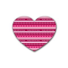 Happy Valentine Day Love Heart Pink Red Chevron Wave Rubber Coaster (heart)  by AnjaniArt