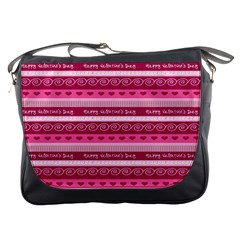 Happy Valentine Day Love Heart Pink Red Chevron Wave Messenger Bags by AnjaniArt